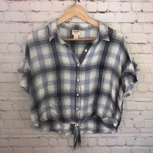 Plaid cropped tie top
